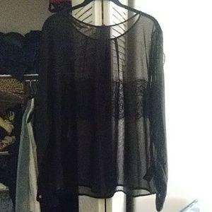 Black sheer lace long sleeve blouse